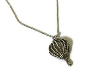 Sterling Silver Hot Air Ballon Necklace Pendant Charm and Sterling Silver Chain