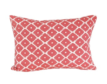 READY TO SHIP - 11x15.5  Schumacher Ziggurat Ruby designer pillow cover (sized for 12x16 insert)