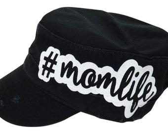 """NEW! White Glitter """" #momlife """" Black Vintage Style Cadet Cap"""