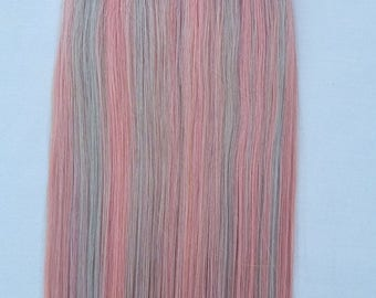 """18"""" (50grs,20pcs OR 100grs,40pcs) ,Highlighted Human Tape In Hair Extensions #Baby Pink/Ash Silver"""