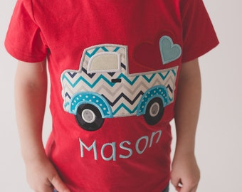 Boys Valentine's Shirt Pick up truck with hearts -- Boys Valentine shirt or bodysuit