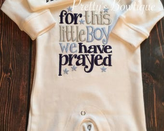 Baby Boy Coming Home Outfit -- For This Little Boy We Have Prayed Romper & Hat with Embroidered Name