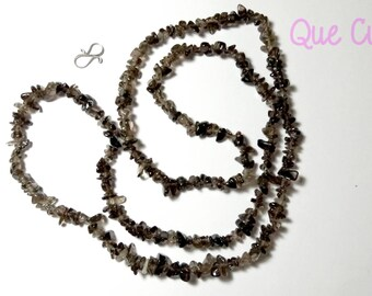 Smoky Quartz chips Necklace of 80 cm around the neck