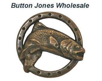 50 pcs. Trout Fish 3/4 inch ( 19 mm ) Metal Buttons Antique Brass Color