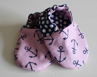 Pink & Navy Anchor Baby Booties
