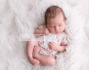 Newborn 'GRACE' short sleeve lace romper  bodysuit  tan  tieback  baby photo prop girl