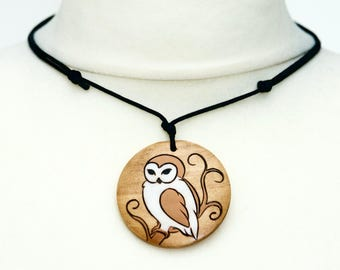 Boho Owl Necklace Barn Owls Gift Large Pendant Boho Jewellery Choker Painting Owl Art Natural Rustic Wood Style Nature