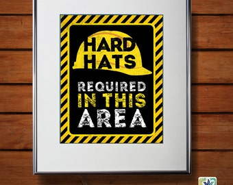 "Construction Birthday Party Sign, Hard Hat Sign, Printable 8""x10"" Sign, DIY Digital File"