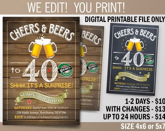 Surprise Birthday Party invitation, Cheers and Beers party for 30th - 40th - 50th - 60th  celebration. Chalkboard Theme Invitation. DIY