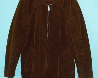 """60s70s Vintage """"Quality"""" Guys' Brown Corduroy Pile Lined Jacket — size Large"""