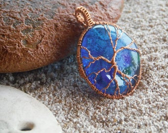 Tree of life necklace Copper wire wrapped jewelry Fused glass pendant Gifts for her Wearable art Gecko glass art Copper tree of life Aqua