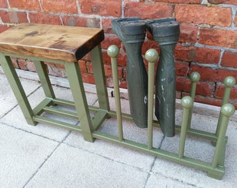 Welly rack, boot rack, hallway bench with shoe rack to base rustic industrial various colours
