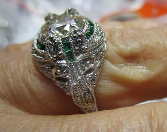 Ladies 1.3ct moissanite in an antique style sterling ring with green and white accents-a beauty!