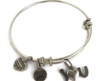 """Angelica Bangle Bracelet, Silver Tone Charm Bangle, """"I Love You"""" Charm"""