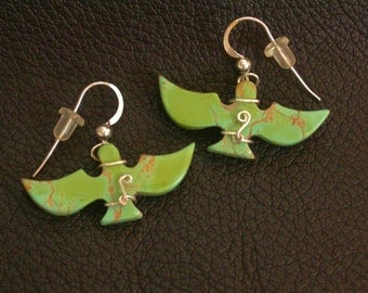 Lime Green Turquoise Eagle Earrings with Sterling Silver wire wrap/ Turquoise Mountain
