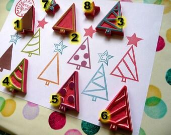 Xmas Stamp, tree rubber stamp, trees stamp, hand carved rubber stamp, forest rubber stamp, Christmas tree stamp, tree pattern