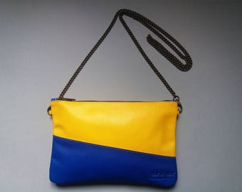 Pochette BICOLOR-yellow and blue-detachable chain shoulder strap