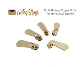 Set of 5// #5 Zipper Sliders / Zipper Pulls (High Quality) for Nylon Coil Zippers in Beautiful Light Gold Finish (NEW)