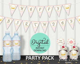 Princess Birthday Party Package, Princess Birthday, Princess Party, 1st birthday, Royal, Castle, Pink,Printable pack, INSTANT DOWNLOAD #5124