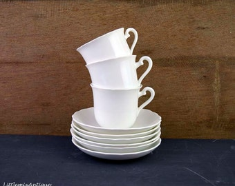 Set of Vintage Plant Tuscan China Made in England Plain White Color 3 Cups and 6 Saucers. Circa 1936+