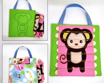 Monkey Stick Puzzle with Zipper Bag. Popsicle Puzzle, Busy Bag. Preschool, Toddler, Quiet Toy, Gift, Quiet Book