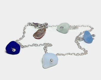 Ocean Inspired Sea Glass Ankle Bracelet, Sterling Silver Beach Glass Anklet, Beach Inspired, Nautical Jewelry, Ankle Accessory