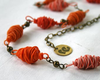 Handmade upcycled jewellery. Recycled electric cables jewelry. Recycled orange nacklace DHAKA. Christmas gift for her.