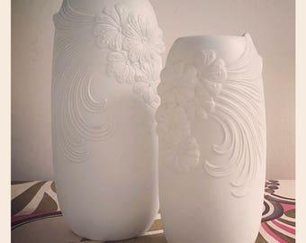 Reduced *Pair of Kaiser Ceramic Op Art Vases circa 1970