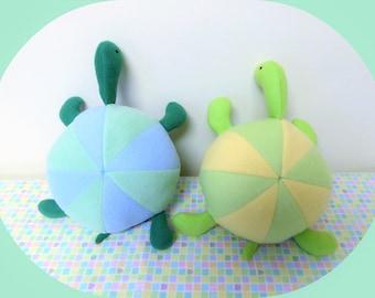 Turtle Stuffed Animal/Green, Blue, Yellow Turtle/Infant Plush/Baby Shower Gift/Nursery Decor/Baby Safe Toy/Child Proof Plushie/free shipping