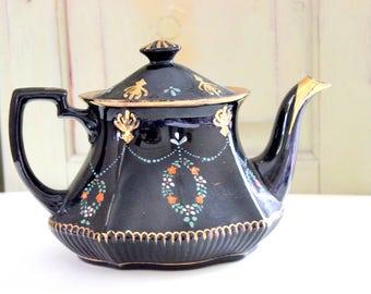 Vintage Staffordshire Black Glazed Tea Pot Hexagonal Style Stoke on Trent Sadler Pottery Made in England Kitchen Dining Serving Decoration