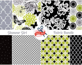 GLAMOUR GIRL BUTTERFLY Fabric Bundle Fabric by the Yard, Fat Quarter Bundle 8 Fabrics Black White Lime & Gray 100% Cotton Quilting Fabric