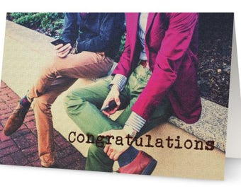 Funny Gay Male, Men Marriage, Wedding, Partnership Congratulations Greeting Card, gay wedding congrats, picture of two stylish men, fashion,