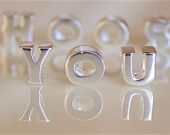 BUNCHABEADS 925 Sterling Silver Choice of Initial Letter Y Z Alphabet Bead Charm