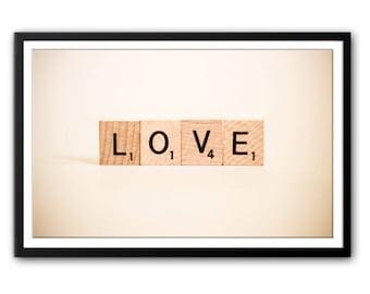 "Instant Download Art - Scrabble ""LOVE"" Printable Art - Print at Home - Printable Downloads -  Printable Wall Art - Printable Word Art"