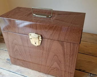 Vintage Faux Wood Porta File File box. Vintage Office Retro Storage Box. Made in USA by Ballonoff. Mid Century Office Decor. Hipster Cool!