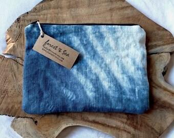 Indigo Bag, Blue Hand Dyed Pouch | Bohemian bag, tie dye purse, shibori linen tie dye bag in indigo blue, surf pouch, ocean waves beach bag.