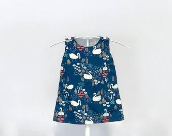 Swanning About A-line Dress Organic Cotton Navy Blue Children's Dress