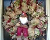 XXL Lighted Rustic Burlap Santa Holiday Christmas Deco Mesh Wreath