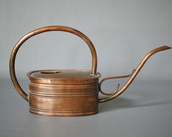 COPPER WATERING CAN, Large Modern Rustic Watering Can, Vintage Copper Watering Can, Made Switzerland, Rustic Modern Decor, Swiss Copper Can