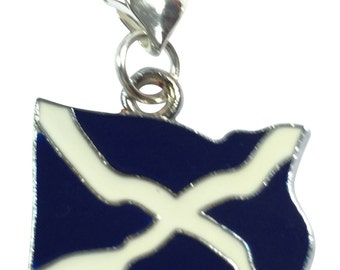 Scottish Flag / The Saltire / St Andrew's Cross / Scotland Flag Clip on Charm with 3 Different Gift Options Handmade by Libby's Market Place