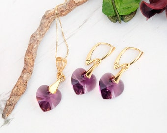 Swarovski Amethyst Heart Earring Necklace Set- Swarovski Crystal Jewellery-24k Gold Plated Heart Dangle Earring Necklace-Bridesmaides Gift