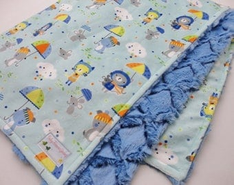 Clearance!  Animals and Umbrellas Minky Baby Blanket - Ready to Ship