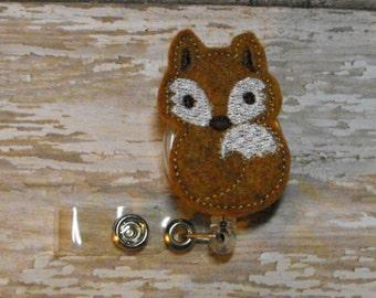 Brown Fox felt badge reel, interchangeable, name badge holder, nurse badge, ID holder, retractable badge clip, feltie badge reel