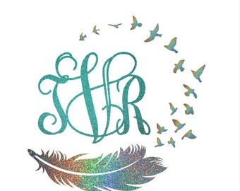 Custom Glitter Bird and Feather Monogram Car Decal, Cup Decal, Laptop Sticker