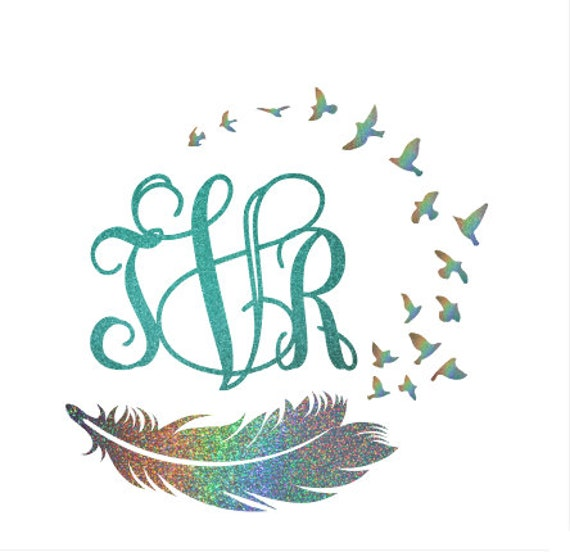 Custom Glitter Bird And Feather Monogram Car Decal Cup Decal