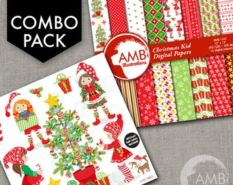 COMBO Christmas Clipart and Digital Papers, Elves Clipart, Christmas Tree, Girl Elves Papers, Commercial Use, AMB-1705