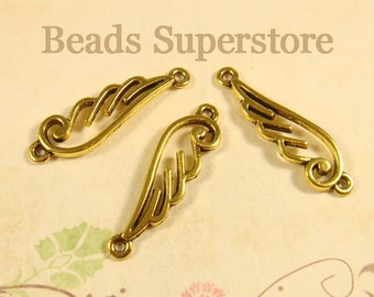 33 mm x 9 mm Antique Gold Angel Wing Link / Connector - Nickel Free, Lead Free and Cadmium Free - 8 pcs (LR71)