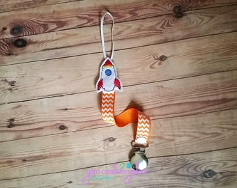 Feltie  Rocketship Pacifier Holder--w/ Orange Chevron Ribbon