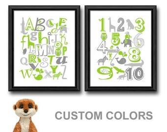 animal alphabet print, alphabet nursery decor, baby shower gift, abc nursery, nursery wall decor, abc animals new baby gift nursery numbers