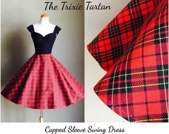 Trixie Tartan PLAID Swing Dress, Punk Rock Cap Sleeves with Stretch Knit Upper Bodice by Hardley Dangerous, Pin Up Rockabilly Dress